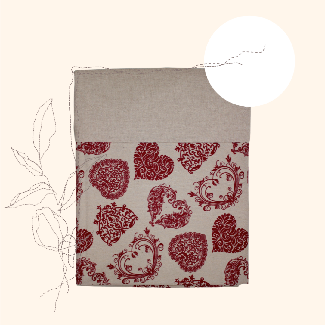 Filigree Red Hearts Tablecloth